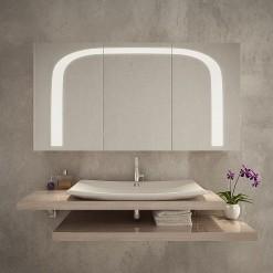 Badezimmerspiegelschrank LED, Auf-/Unterputz - BOSTON