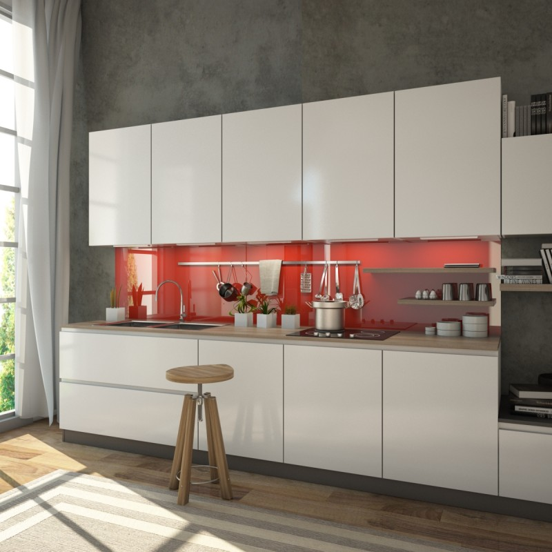 Glas Küchenrückwand Rot / Signalrot (REF 3001) kaufen