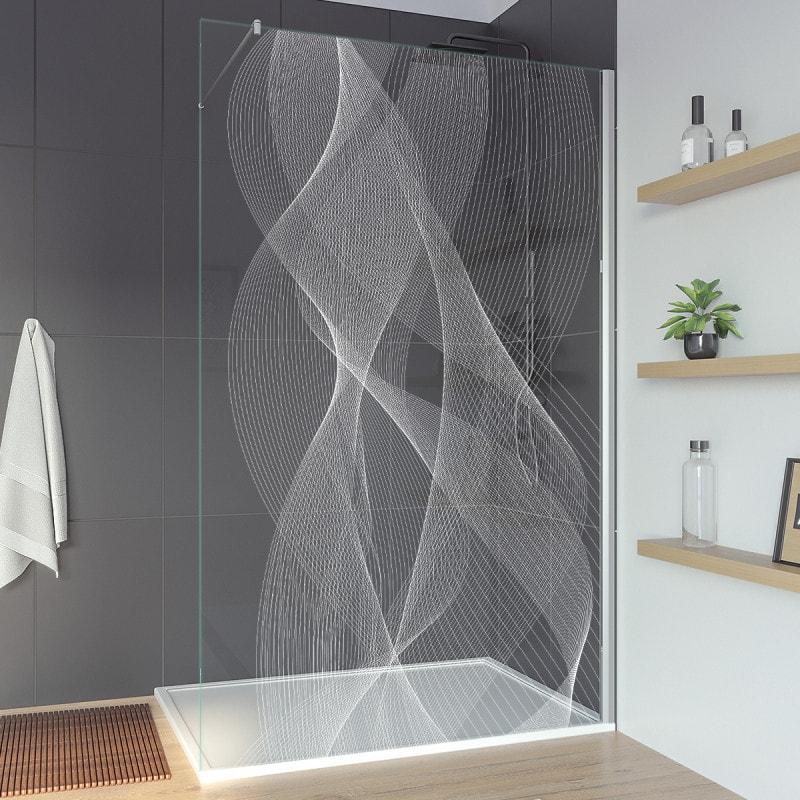 Glasduschwand mit Motiv für begehbare Dusche ARRAY 1T