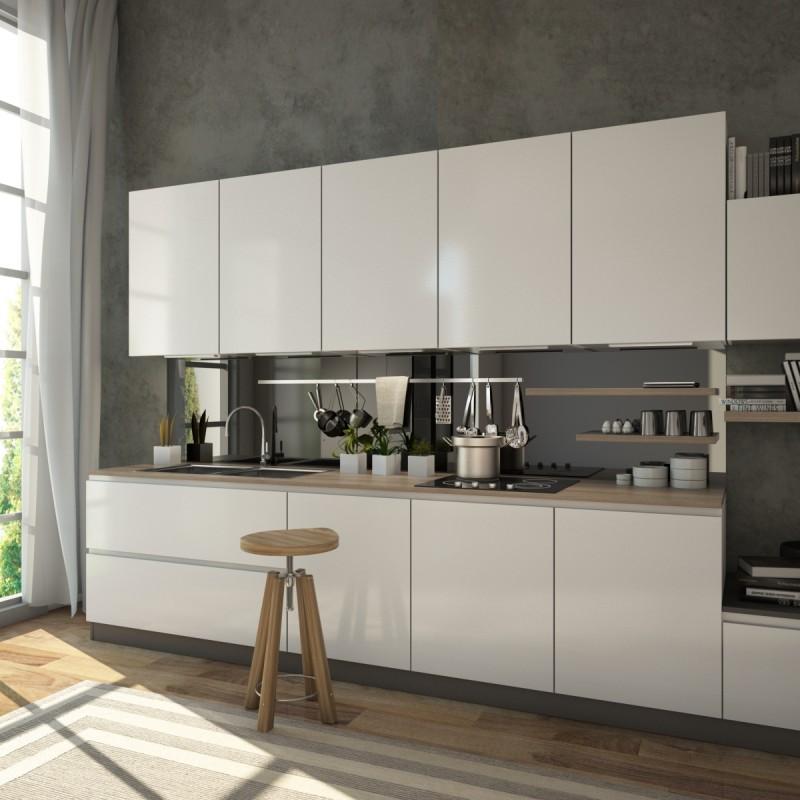 Glasrückwand Küche, Nischenrückwand - Schwarz - REF 9005, 6mm