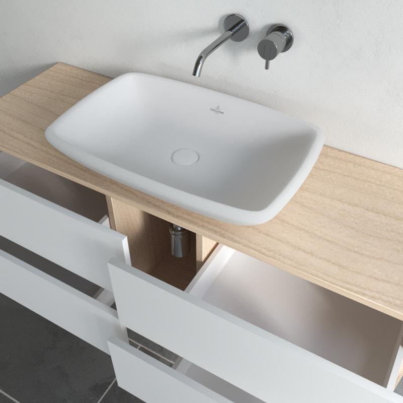 Großer Bad Unterschrank für ein Waschbecken - Amrum 12A