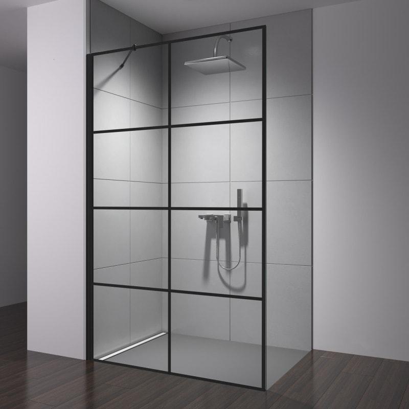 Walk-in Dusche Glas Industrielook schwarz FRAME 2T
