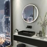 Spiegel rund beleuchtet mit Rahmen PLUTO 2